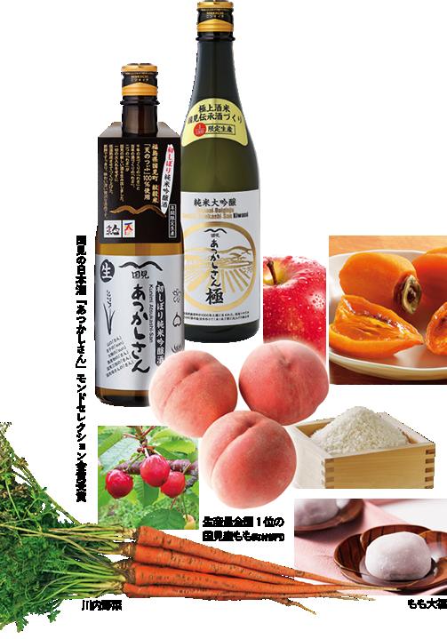 国見の日本酒「あつかしさん」モンドセレクション金賞受賞 生産量全国1位の国見産もも(町村部門) 川内野菜 もも大福